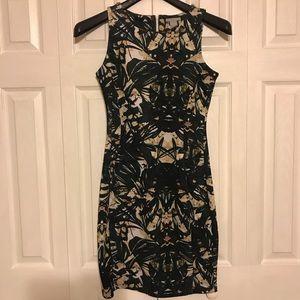 H&M dark green & tan patterned dress (small)